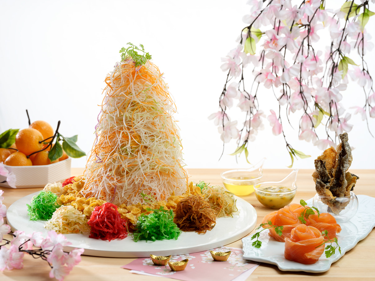 Salmon and Fish Skin Yusheng with Passion Fruit Yogurt Dressing