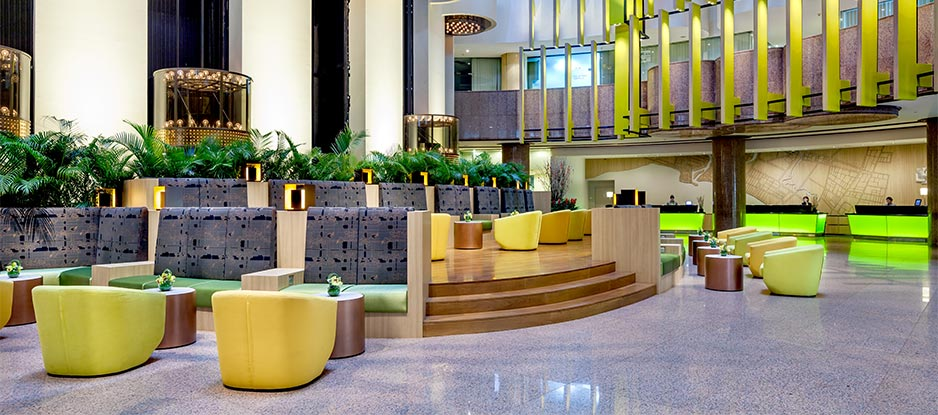 Colourful Seating Area at the Holiday Inn Singapore Atrium Lobby