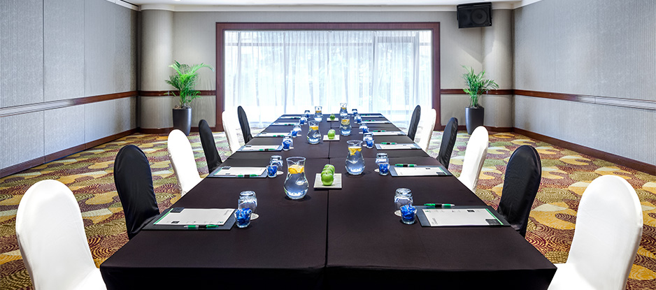 Black and White Themed Boardroom Long table Setup