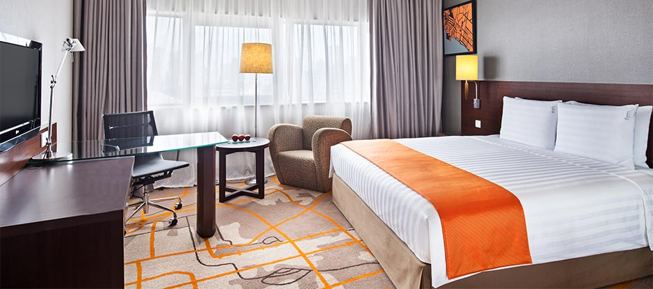 View of Orange Themed Executive Room